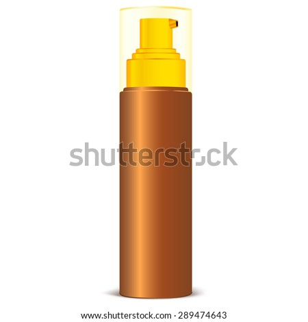 Brown Bottle Spray Cosmetic Packaging for Sun Protect Spray, Suntan Oil and Other Product. Isolated on a white background. Vector illustration.  Plastic Pack Template Ready For Your Design. - stock vector