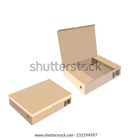 Brown box, cardboard box, software box, carton box, opened box, closed box - stock vector