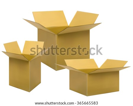 Brown box packaging on white background - stock vector