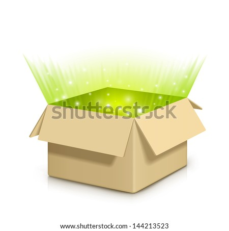 Brown box with something shiny inside.Fully transparent. Any background can be used. - stock vector