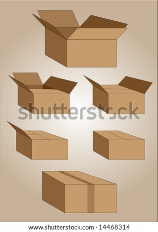 Brown Boxes - stock vector