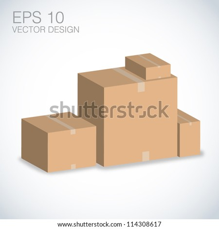 brown boxes stacked vector design on white. - stock vector