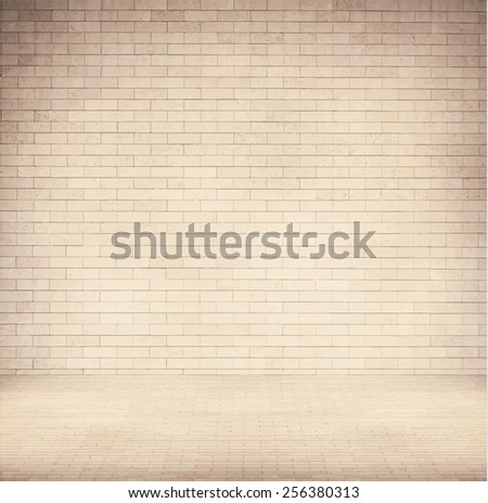 Brown brick wall texture with sidewalk.  - stock vector