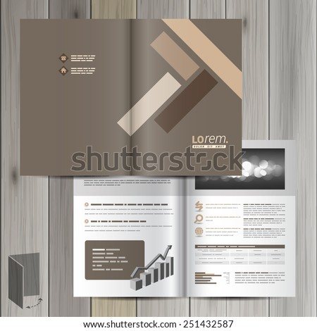 Brown brochure template design with parquet elements. Cover layout - stock vector