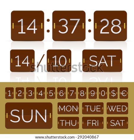 Brown calendar with timer and scoreboard numbers. Vector EPS10 illustration - stock vector