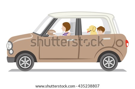 Brown car, mom and son and dog,Isolated - stock vector