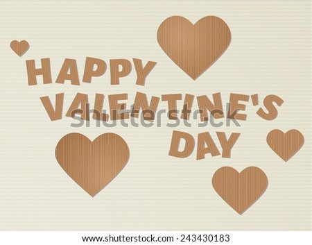 brown cardboard happy valentine`s day with hearts - stock vector