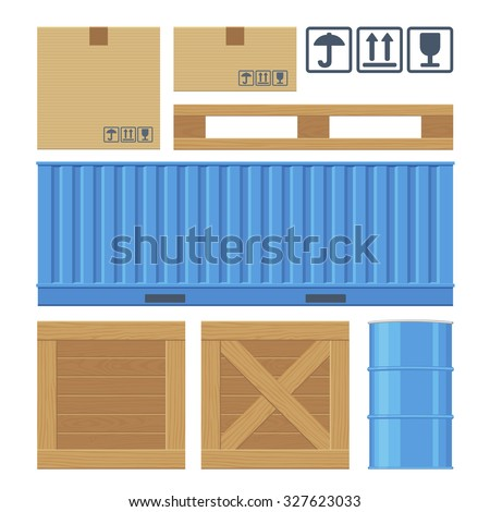 Brown carton packaging box, pallet, blue container, wooden crates, metal barrel isolated on white background with fragile attention signs. Flat vector set illustration for icon, banner, info graphic - stock vector