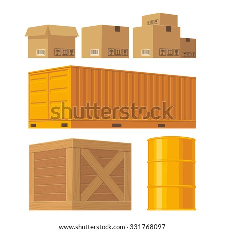 Brown carton packaging box, pallet, yellow container, wooden crates, metal barrel isolated on white background with fragile attention signs. Vector set illustration for icon, banner, infographic - stock vector