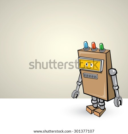 brown Cartoon 3d Robot - stock vector