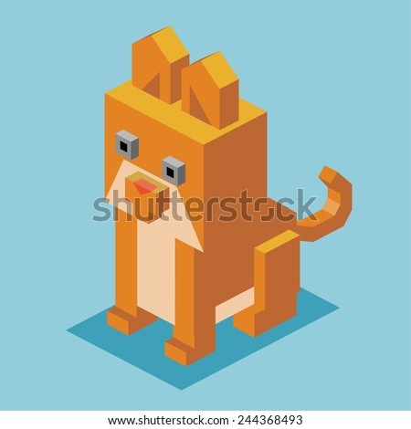 brown cat. 3d flat isometric vector - stock vector