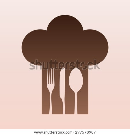 Brown Chef hat with fork, spoon and knife inside  - stock vector