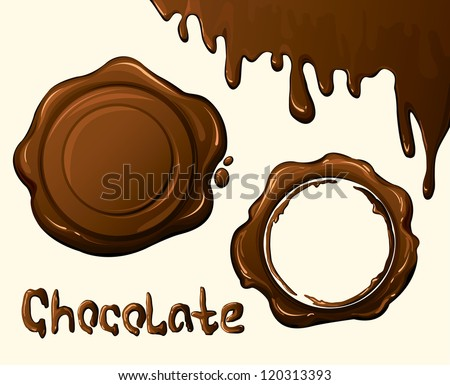 Brown chocolate stamp and stains - stock vector