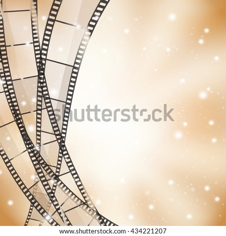 brown cinema background with retro film strips and stars - stock vector