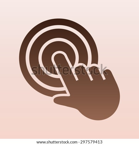 Brown click, hand icon - stock vector