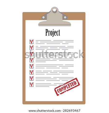 Brown clipboard and project list with check boxes marked with red rubber stamp completed vector illustration. Survey icon, checklist icon  - stock vector