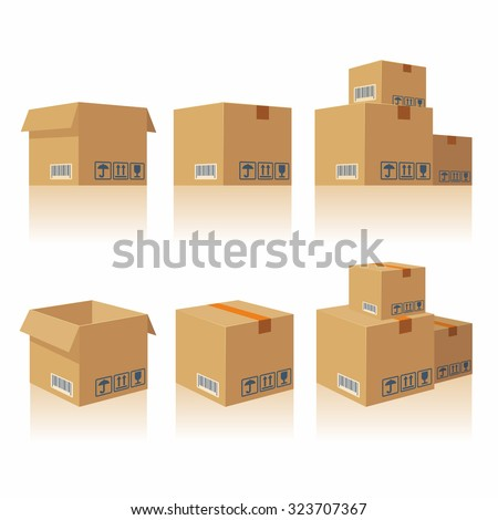 Brown closed and open carton delivery packaging box with fragile signs isolated on white background vector illustration icon.  For web, banner, infographic. - stock vector