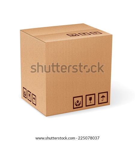 Brown closed carton delivery packaging box with fragile signs isolated on white background vector illustration. - stock vector
