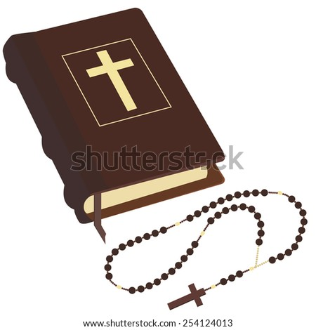 Brown closed Holy Bible and rosary beads with cross vector isolated - stock vector