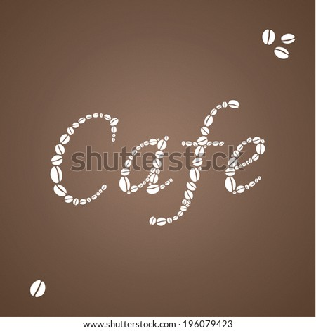 Brown coffee background with white insignia composed from shilouette of coffee beans. Elegant square background for coffee lovers. - stock vector