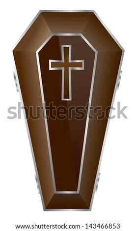 Brown Coffin Vector Illustration. - stock vector