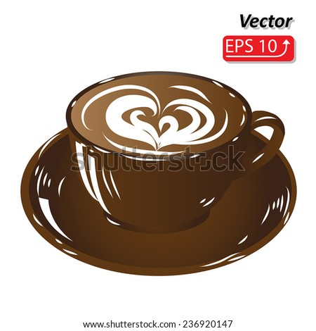 brown cup coffee, hot drink chocolate icon isolated on white background vector illustration - stock vector