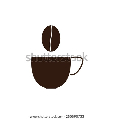 Brown cup of coffee and coffee grain over it isolated on white background. Logo template - stock vector