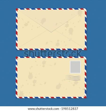 Brown Dirty Envelopes Vector  - stock vector