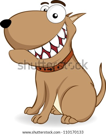 brown dog is sitting with a big smile showing her teeth - stock vector