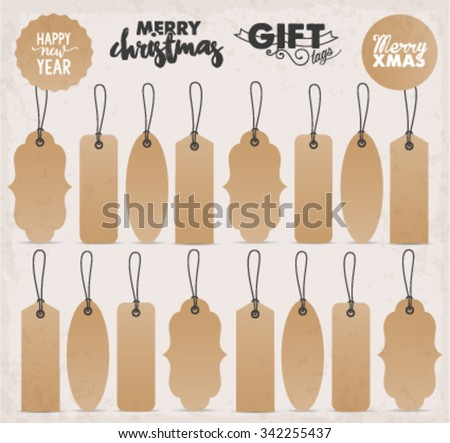 Brown Gift Tags Set - stock vector
