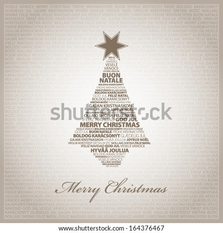 Brown greeting card with Christmas tree - stock vector