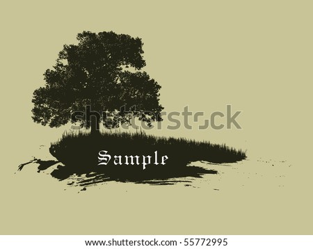 brown grunge style tree with room for your text. - stock vector
