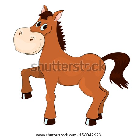 Brown horse. Isolated on white. Vector cartoon illustration. - stock vector