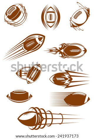 Brown icons of american football or rugby leather balls whirling and flying through the air with motion trails for sporting design - stock vector