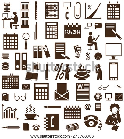brown icons on white background accountant and secretary - stock vector