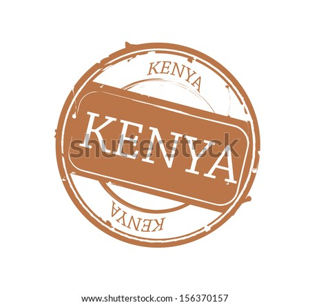 Brown Kenya round rubber stamp VECTOR - stock vector