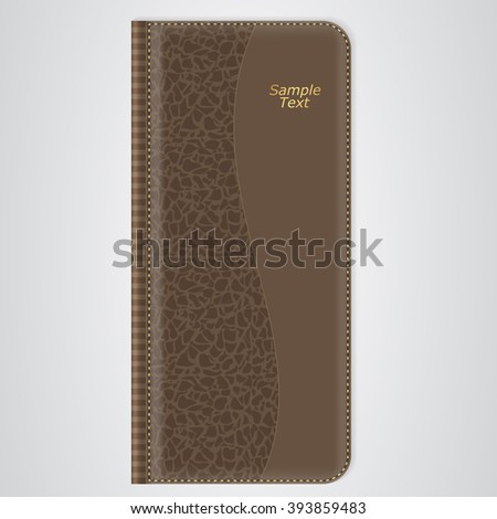 Brown leather organizer for records with gold thread. Vector - stock vector