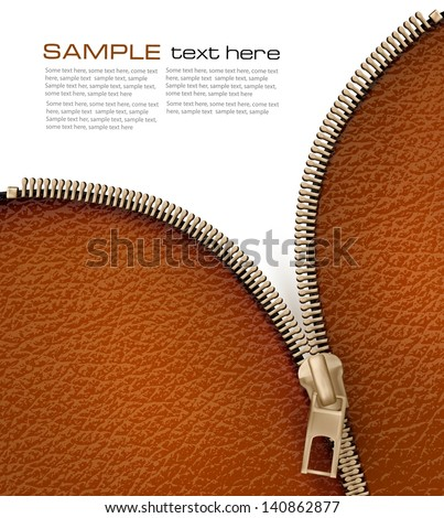 Brown leather texture background with zipper. Vector illustration - stock vector