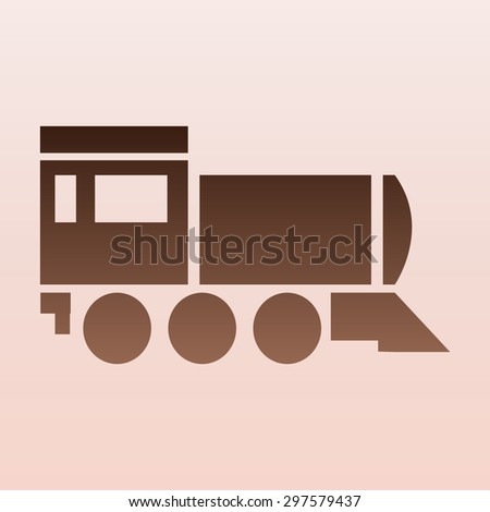 Brown Locomotive icon . Vector illustration - stock vector