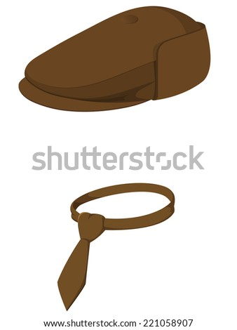 Brown man's cap with tie isolated on white background. Vector illustration. - stock vector