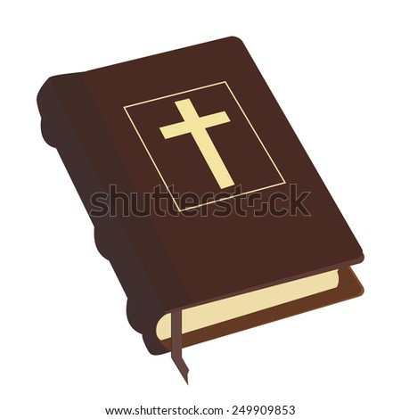 Brown old holy bible with gold cross vector icon isolated, religious bookstore, closed book - stock vector
