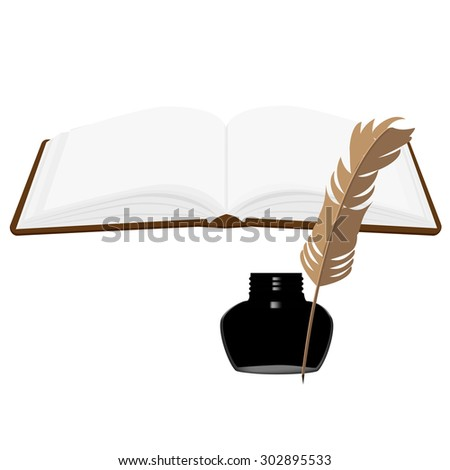 Brown old leather book with bookmark and black inkwell with feather vector set. Opened book - stock vector