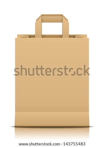 Brown paper bag - stock vector