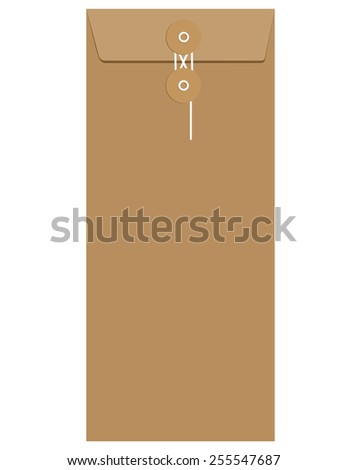 Brown paper sealed with string envelope template vector isolated on white - stock vector