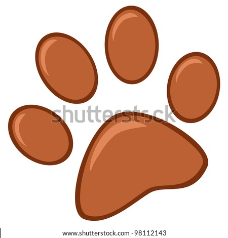 Brown Paw Print. Vector Illustration - stock vector