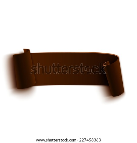 Brown realistic curved paper banner. Ribbon. Vector illustration - stock vector