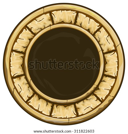 Brown round stone frame on white. Vector illustration  - stock vector