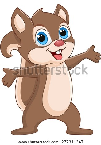Brown squirrel spreading hands and smiling - stock vector