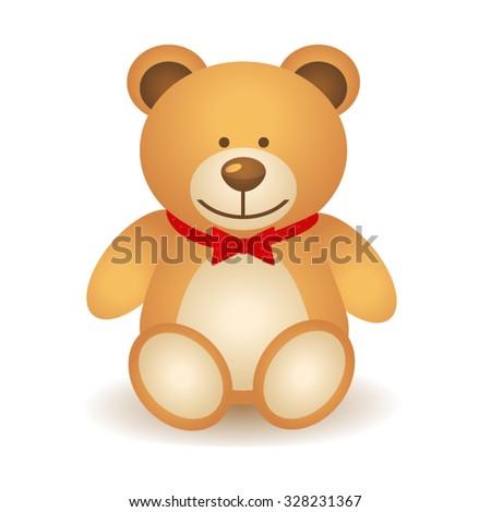 Brown Teddy Bear with red bow isolate on white background, Teddy bear Clip Art, Cute bear, Bea Cartoon Character - Cartoon Clip Art - stock vector
