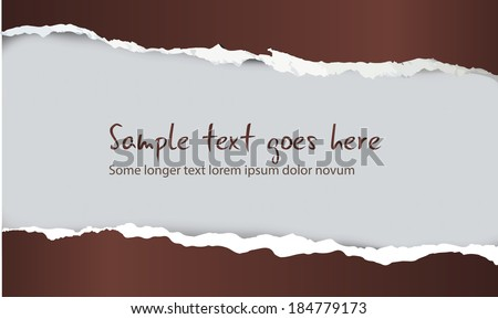 Brown torn paper card with sample text, vector illustration  - stock vector